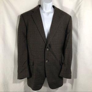 CHAPS Brown Houndstooth Wool Jacket Blazer 42R